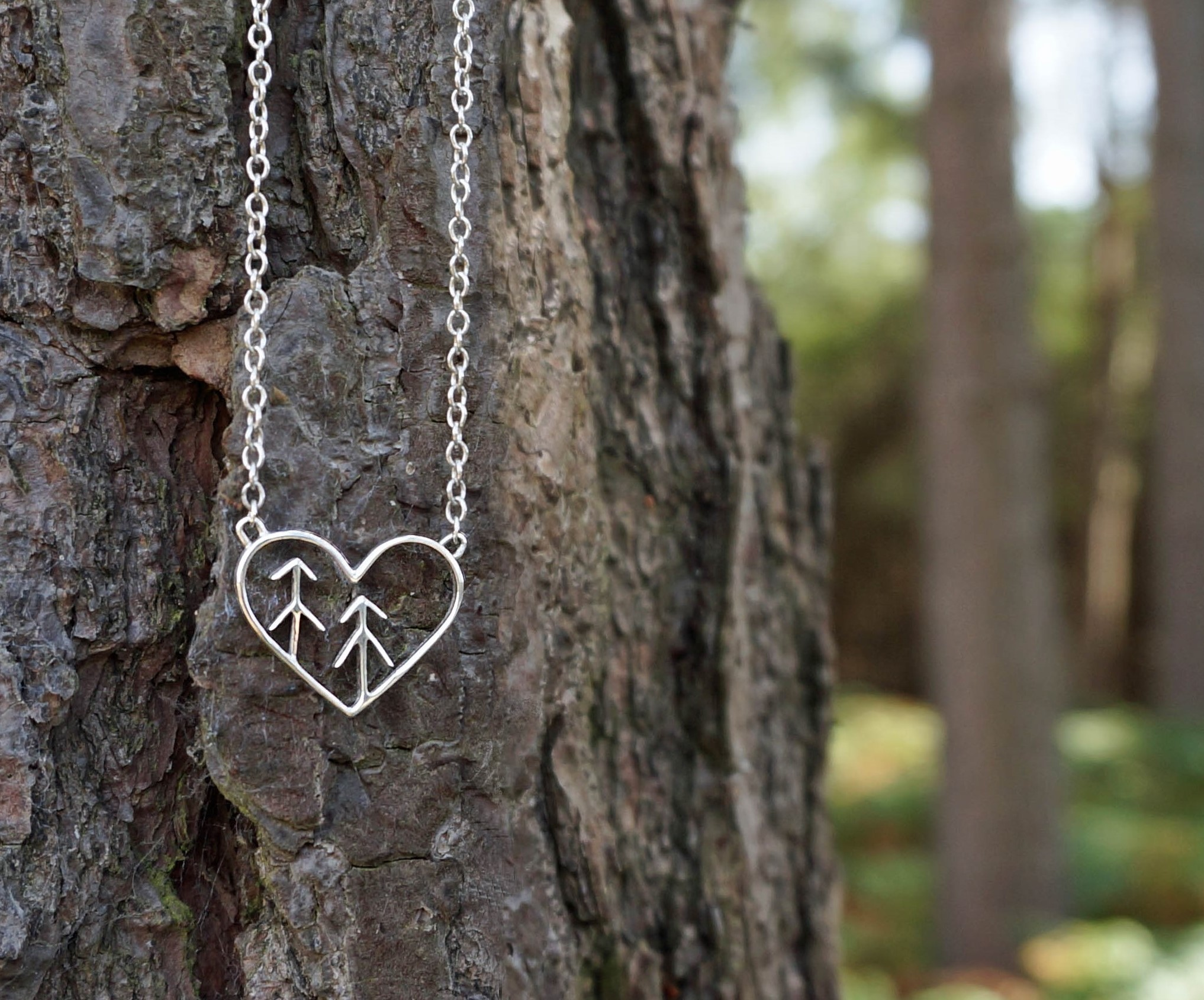 Love the forest heart tree necklace