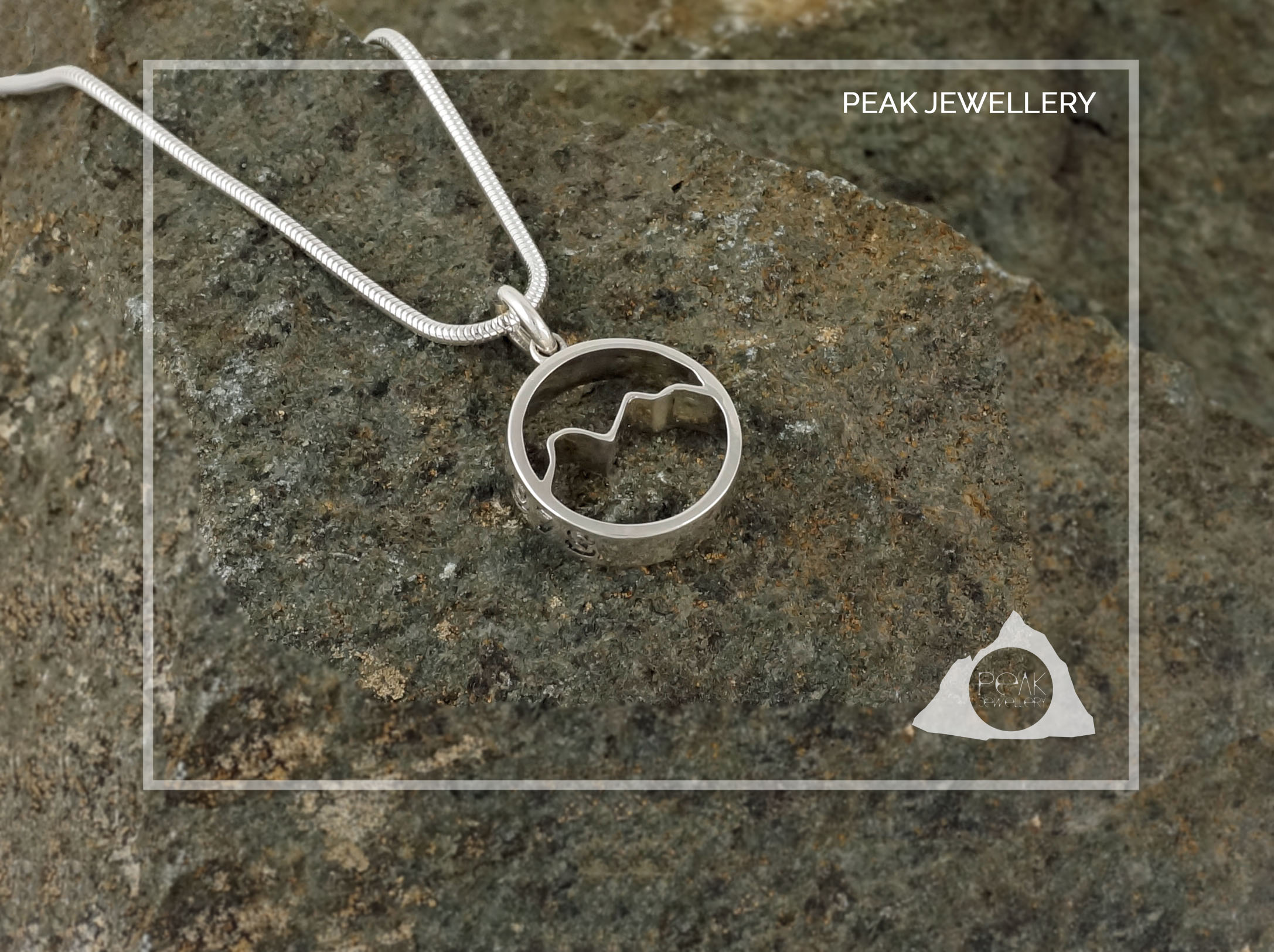 Peak Jewellery, Scafell Pike Mountain Pendant, Handmade Silver adventure jewellery